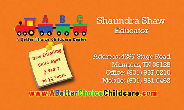 A Better Choice Childcare Business Card Front
