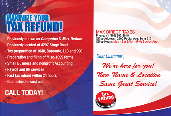 Max Direct Taxes Postcard Back