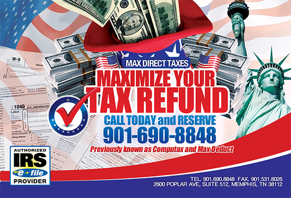Max Direct Taxes Postcard Front