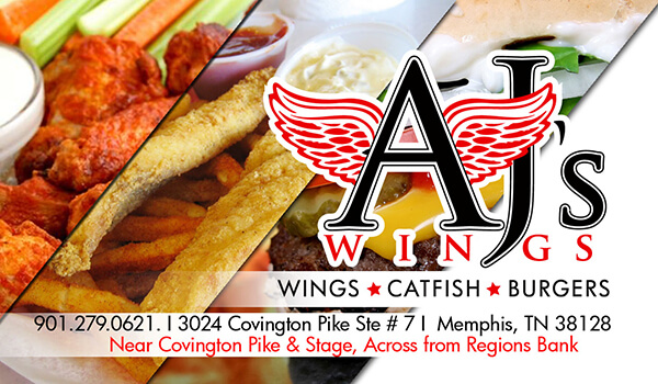 Ajs Wings Business Card Front