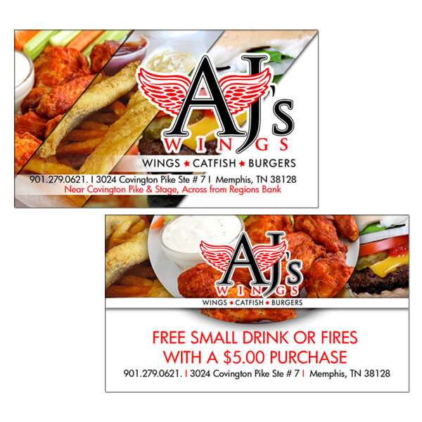 Aj's Wings Business Cards