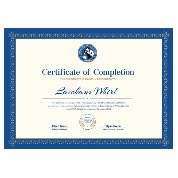 Boilermakers and Welding Institute Certificate Design - TMalone ...
